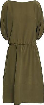 7755cc61bca Marni Marni Woman Gathered Crepe De Chine Midi Dress Army Green Size 40