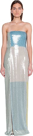 Akris Strapless Sequin Colorblock Gown
