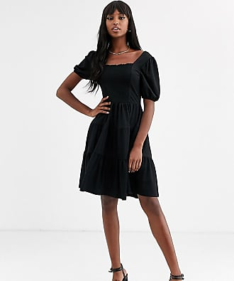Y.A.S. Tall Famia ruched tiered smock dress-Black
