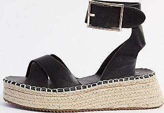 Glamorous Espadrille-Sandalen mit Plateausohle in Schwarz