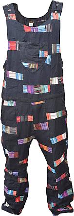 Gheri Mens Black Patchwork Cotton Light Dungarees Overalls Large X-Large