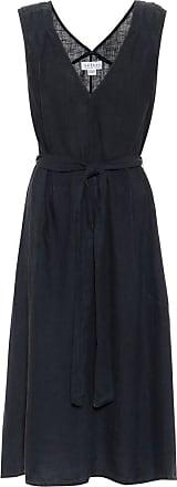 Velvet Harmony belted linen midi dress