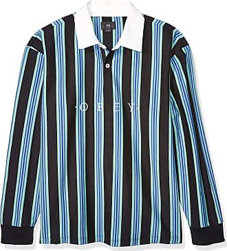 Obey Mens Firm Classic Polo Ls Shirt, Black Multi, Medium