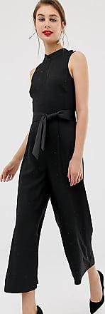 Warehouse rhinestone jumpsuit in black