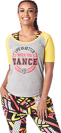 Zumba Easy Fit Baseball Tee Active Dance Fitness Graphic Workout Tops for Women