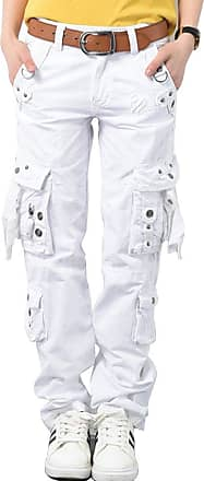OCHENTA Womens Combat Casual Cargo Eight Pocket Army Military Trousers (White, UK 16)