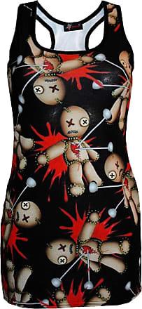 Insanity Cute Voodoo Doll Print Long Vest Summer Dress Top (M/L)