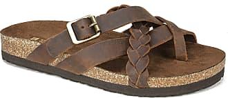 White Mountain Womens Harrington Flat Sandal, Brown/Leather, 5 UK