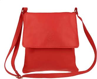 Girly HandBags Girly HandBags Genuine Soft Leather Italian Cross Body Shoulder Bag Flap Zipper - Red
