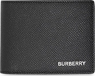 Burberry Carteira dobrável de couro granulado - Preto