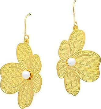 Tinna Jewelry Brinco Dourado Trevo 4 Folhas Com Pérola