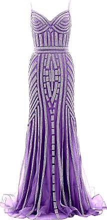 MACloth Women Crystal Beaded Jersey Long Prom Dress Mermaid Formal Evening Gown (UK20, Purple)