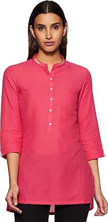 Biba Womens Cotton Straight Kurta (CORE14627_ Fuschia_ L (36))