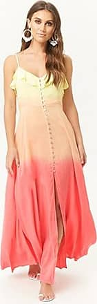 Forever 21 Forever 21 Ombre Button-Front Maxi Dress Yellow/peach