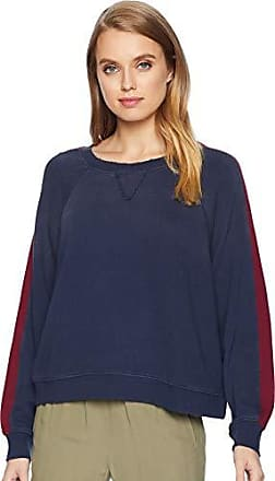 Splendid Womens Crewneck Long Sleeve Pullover Sweater Sweatshirt, Navy/Ruby, X-Small