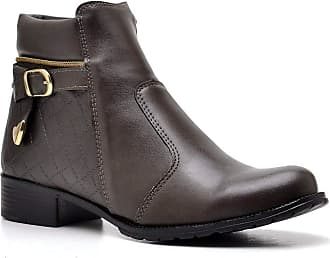 Di Lopes Shoes Bota Feminina Cano Baixo Sintético (33, Café)
