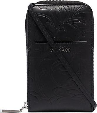 Versace Capa para celular de couro com gravação - Preto