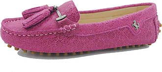 MGM-Joymod Womens Comfortable Rose Floral Leather Tassel Buckle Driving Outdoor Walking Casual Flats Slip-on Loafers Boat Shoes 6.5 M UK