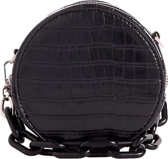 Girly HandBags Women Faux Leather Round Compact Clutch Bag - Black