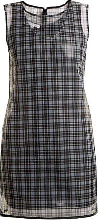 Helmut Lang Round-neck Checked Semi-sheer Dress - Womens - Black Multi
