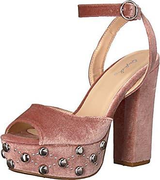 Qupid Womens Chunky Heeled with Studded Platform Sandal, Blush Velvet, 9 M US