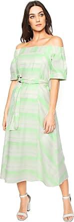 Colcci Vestido Colcci Midi Ombro a Ombro Off-white/Verde