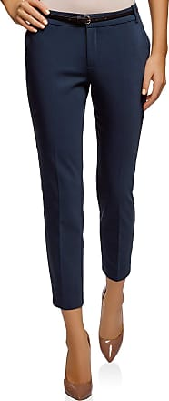 oodji Collection Womens Cropped Belted Trousers, Blue, UK 14 / EU 44 / XL