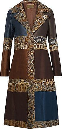Etro Etro Woman Patchwork Jacquard And Matelassé Coat Brown Size 40