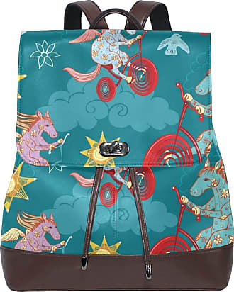 Ahomy Ladies Fashion PU Leather Backpack Cute Cartoon Unicorn Bicycle Sun Anti-Theft Rucksack Shoulder Bag