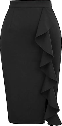 Grace Karin Women Slim Office Skirt Big Ruffles Split Decorated Ladies Knee Length High Waist Sexy Pencil Black Skirt M