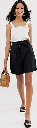 & Other Stories high waisted tie shorts in black-Multi