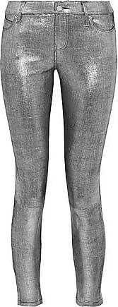 062407e14fa1 Rta Rta Woman Metallic Snake-effect Leather Skinny Pants Silver Size 26