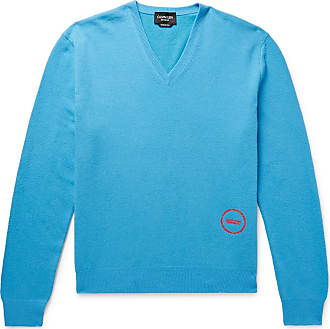 CALVIN KLEIN 205W39NYC Logo-embroidered Wool And Cotton-blend Sweater - Blue