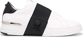 Philipp Plein White Leather Sneakers Black Size: 10/10.5 UK