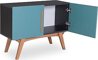 Odin Buffet Monclar com 2 Portas 90 cm Preto e Azul AgathaPreto e Azul Agatha