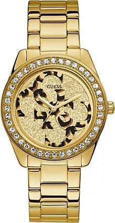 Acotis Limited Guess Watches Guess Ladies Gold Watch Animal Print 4G Dial W1201L2