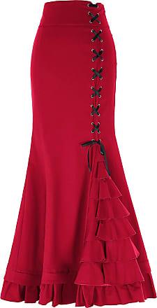 Belle Poque Women Retro Cosplay Costume Maxi Length Gothic Mermaid Skirts BP203-6 XX-Large