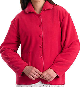 Slenderella Womens Button Up Bed Jacket Anti Pill Polar Fleece Satin Trim Housecoat XL (Raspberry)