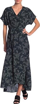 Bobeau Printed Wrap Maxi Dress
