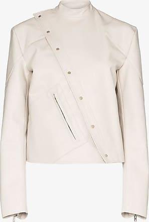 Zilver Womens White Asymmetrical Leather Look Biker Jacket