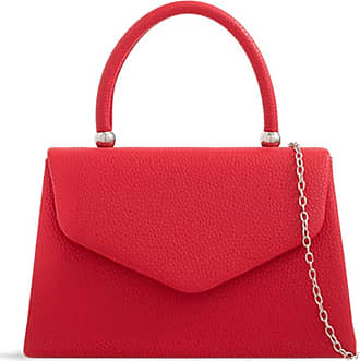 LeahWard Womens Faux Leather Clutch Bag Top Handle Wedding Handbags (Red)