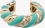 Yvonne Léon Womens 9kt Yellow Gold, Turquoise And Diamond Ear Cuff