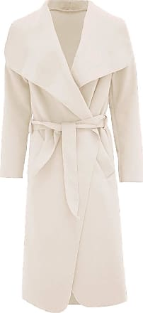 ZEE FASHION Womens Ladies Italian Trench Long Coat Waterfall Duster Cape Belted Cardigan Jacket Wrap