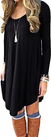 Lofbaz Womens Long Sleeve Casual Loose T-Shirt Tunic Dress Design 1 Black 3XL