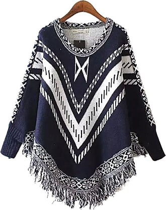 YOUJIA Women Vintage Patterned Knitted Pullover Poncho Capes with Tassels Sweater Top (Navy)