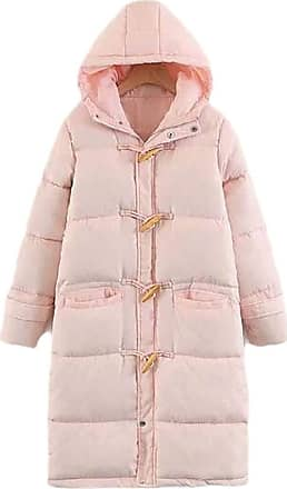 VITryst Womens Casual with Hood Horn Buckle Thickened Long Sleeve Down Long Overcoats Jacket Tops,Pink,X-Small