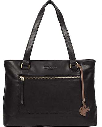 Pure Luxuries London Conkca London Alice Womens 33cm Biodegradable Leather Handbag with Zip Over Top, 100% Cotton Lining and Matching Leather Handles in Black B176