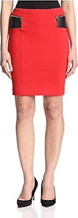 Yigal AzrouËl Womens Pencil Skirt with Leather Contrast, Fire 2