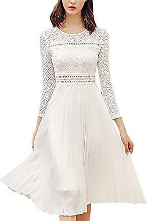 a7a5ee0923cb3b Elodiey Damen Spitzenkleider Elegante Normallacks Frühling Kleid Chic  Herbst 20Er Jahre Kleider Fashion 3/4