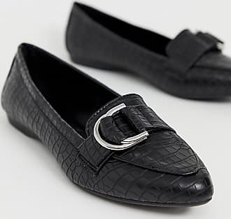 New Look croc ring detail loafer in black - Black